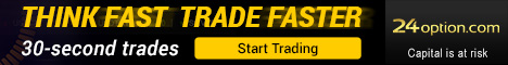 24 Option banner to create a new trading account - 30 secunds trading.