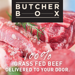 An advertisement image for Butcher Box\'s 100% grass-fed beef
