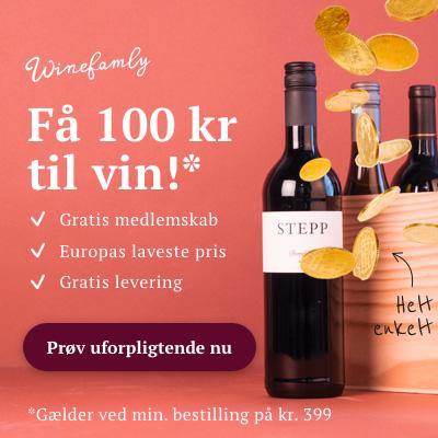 Meld dig gratis ind idag og få 100 kr. til at shoppe vin for