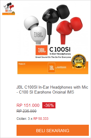 JBL C100SI In-Ear Headphones with Mic - C100 SI Earphone Original IMS