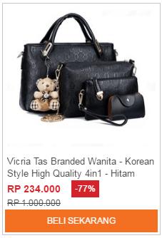 Tas Selempang Branded Wanita - Korea Style - Hitam