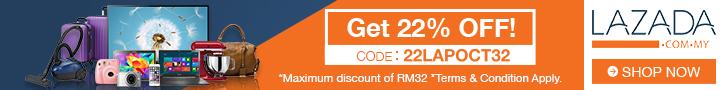 Lazada Promosi Diskaun 22% Dengan Mengguna Kupon Code 22LAPOCT32