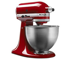 You can enter once for your shot at winning this KitchenAid 4 and a half quart Classic Red Stand Mixer, worth more than $200!