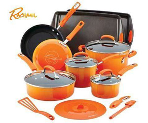 Here is your chance to enter once to win this fantastic Rachael Ray Hard Enamel Nonstick 16 piece Cookware Set!