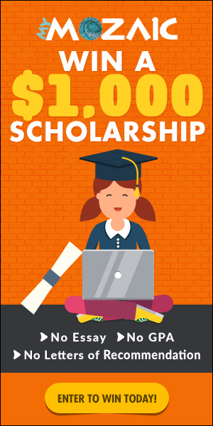 Win a $1000 College Scholarship - NO Essay, NO GPA, NO Letters of Recommendation - APPLY NOW!