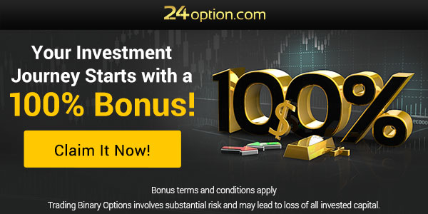 24 Option sign up banner with up to 100% bonus.