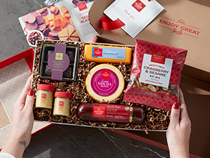 A basket of Hickory Farms products.