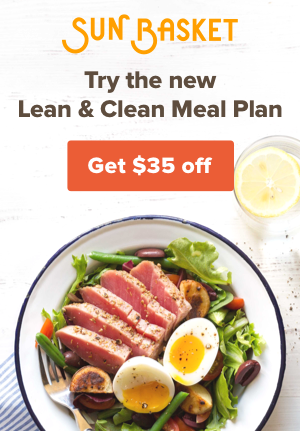 A plate of food with text for a Sun Basket ad.