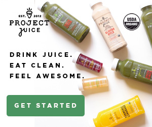 Bottles of juice and text for a Project Juice ad.