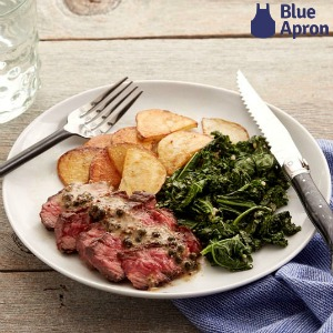 Food on a plate with a Blue Apron logo.