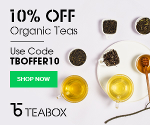 Glasses of tea and bowls of tea leaves with text as an ad for Teabox.