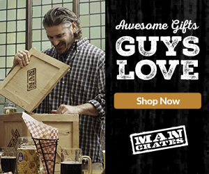 A man looking into a crate for an ad for Man Crates.